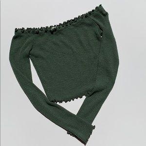 Better Be Long ruffled sleeve green crop top XS